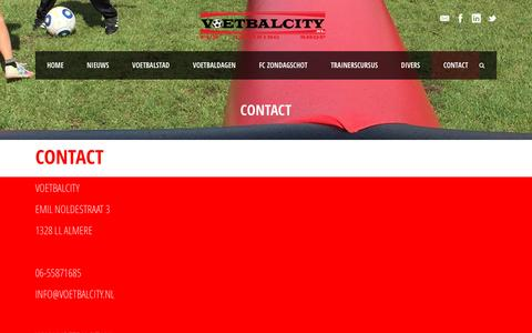 Screenshot of Contact Page voetbalcity.nl - VOETBALCITY   » CONTACT - captured Aug. 14, 2016