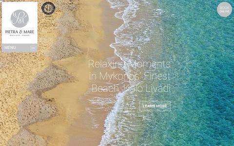 Screenshot of Home Page pietraemaremykonos.com - 4 Star Hotel in Mykonos   Beach Hotel in Mykonos. Pietra e Mare Mykonos - captured Jan. 28, 2016