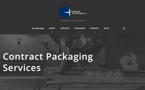 Screenshot of Services Page ctipack.com - Contract Packaging Services - Combined Technologies Inc. - captured Sept. 29, 2018