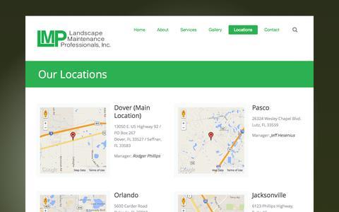 Screenshot of Locations Page lmppro.com - Landscape Maintenance Professionals - Locations - captured Oct. 1, 2014
