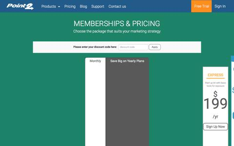 Screenshot of Pricing Page point2homes.com - Point2 Memberships & Pricing - captured Oct. 20, 2017
