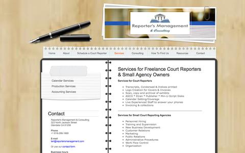 Screenshot of Services Page reportersmanagement.com - Support Services for Court Reporters and Court Reporting Agencies - captured Oct. 7, 2014