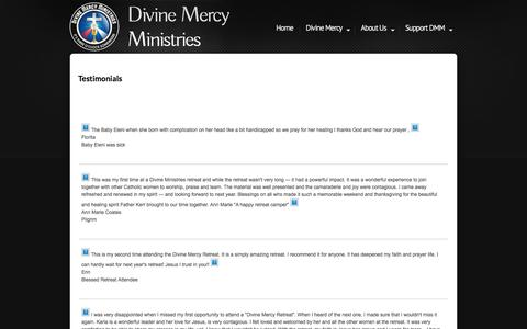 Screenshot of Testimonials Page divinemercyministries.org - Testimonials - captured Aug. 7, 2018