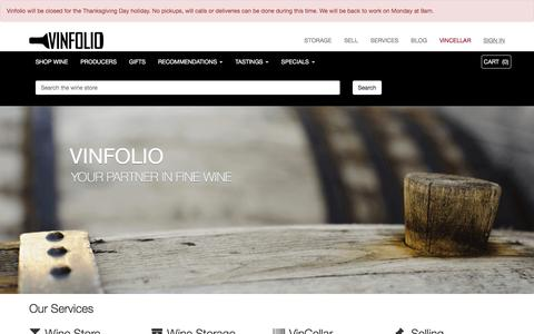 Screenshot of Home Page vinfolio.com - Vinfolio | Buy, Store, Collect & Sell Fine Wines Online - captured Nov. 27, 2015