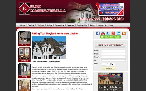 Screenshot of Home Page Site Map Page blairgcroofing.com - #1 Annapolis Roofing Contractor | Roofing Annapolis, Maryland & More - captured Oct. 5, 2014