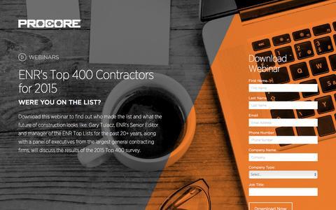 Screenshot of Landing Page procore.com - ENR Top 400 Contractors - captured March 15, 2016