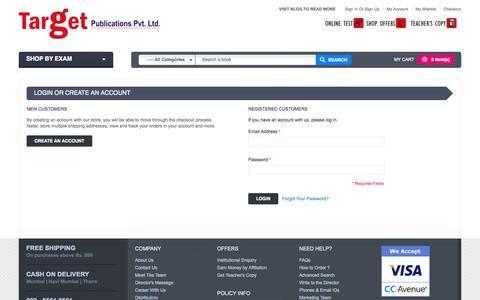 Screenshot of Login Page targetpublications.org - Customer Login - captured Nov. 4, 2014