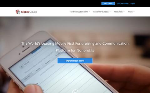Screenshot of Home Page mobilecause.com - Cloud Based Fundraising | MobileCause - captured Dec. 4, 2015