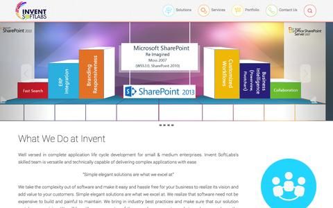 Screenshot of Home Page inventsoftlabs.com - Microsoft SharePoint Development, SharePoint Custom Branding, SharePoint Migration, Asp.NET MVC, Asp.NET, WCF, WPF, Mobile Apps, HTML5 hybrid apps - captured Oct. 6, 2014