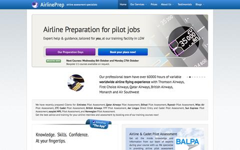Screenshot of Home Page airlineprep.co.uk - Airline Preparation for Pilot Jobs - captured Sept. 30, 2014