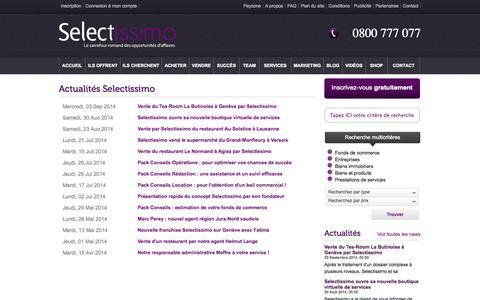 Screenshot of Press Page selectissimo.ch - News - captured Sept. 26, 2014