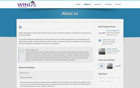 Screenshot of About Page winustech.com - :: Welcome To Winus Technologies :: Website Designing in Nashik | Website Development Company in Nashik | web development in Nashik | Website Designing Company in Nashik | web development company Nashik | SEO India | SEO Compnay of india - Cheap SEO  - captured Oct. 26, 2014
