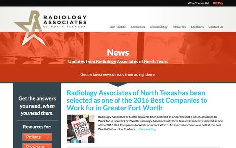 Screenshot of Press Page radntx.com - News - Radiology Associates of North Texas - captured Dec. 3, 2016