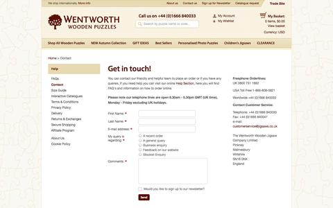 Screenshot of Contact Page jigsaws.co.uk - Contact | Wentworth Wooden Puzzles - captured Sept. 19, 2014