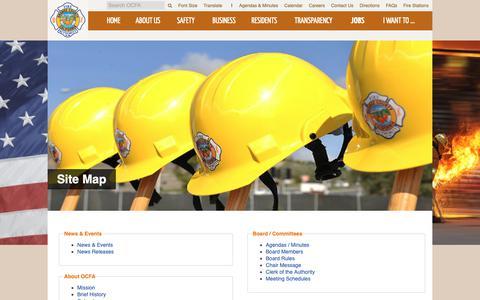 Screenshot of Site Map Page ocfa.org - OCFA - Orange County Fire Authority - captured Oct. 24, 2018