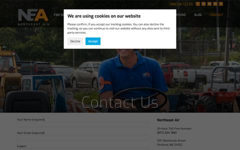 Screenshot of Contact Page northeastair.com - Contact Us | The Aviation Gateway To Portland, Maine | New England FBO - captured Sept. 20, 2018