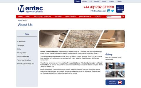 Screenshot of About Page mantectechnicalceramics.com - About Mantec Technical Ceramics | Mantec Technical Ceramics - captured Nov. 17, 2016