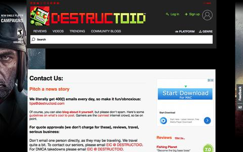 Screenshot of Contact Page destructoid.com - Today in Community: #Saturday,-September-2nd-2017 - captured Sept. 2, 2017