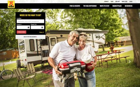 Screenshot of Home Page koa.com - Camping Reservations, Campgrounds and Campsites| KOA - captured Jan. 13, 2016
