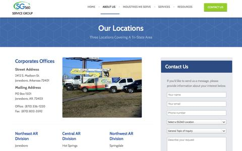 Screenshot of Contact Page Locations Page servicegroup360.com - Service Group 360 - Locations - captured Dec. 19, 2015