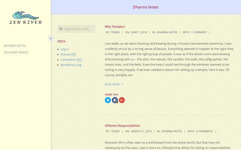 Screenshot of Blog zenrivertemple.org - Dharma Notes   River of Zen - captured June 29, 2018
