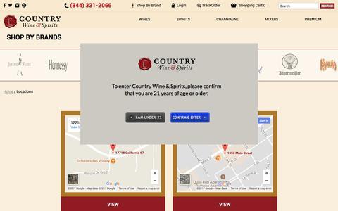 Screenshot of Locations Page cwspirits.com - Locations - captured Sept. 5, 2017