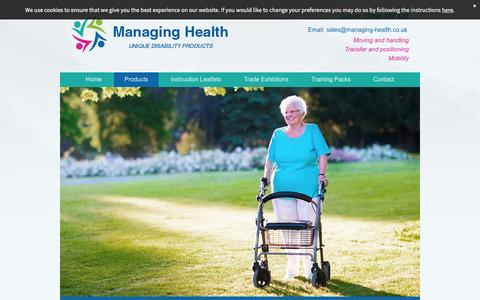Screenshot of About Page managing-health.co.uk - Unique mobility products, making a difference by Managing Health in Weston-Super-Mare - captured July 22, 2016