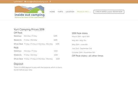 Screenshot of Pricing Page insideoutcamping.co.uk - PRICING   Inside Out Camping - captured Oct. 12, 2018
