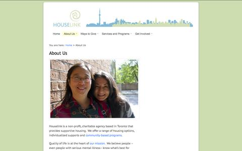 Screenshot of About Page houselink.on.ca - Houselink Community Homes  |  About Us - captured Oct. 3, 2014