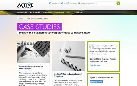 Screenshot of Case Studies Page activeinternational.ca - Case Studies: Corporate Trade & Excess Inventory Case Studies   Active International   Active International - captured Sept. 24, 2018