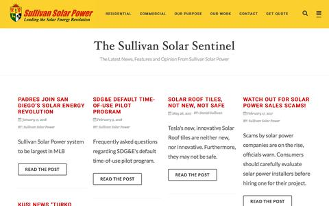 Screenshot of Blog sullivansolarpower.com - Solar Power Installations Southern California - Sullivan Solar Blog - captured Feb. 9, 2018