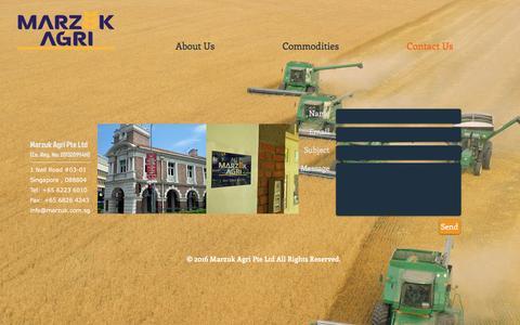 Screenshot of Contact Page marzuk.com.sg - Marzuk Agri Pte Ltd - captured Nov. 27, 2016