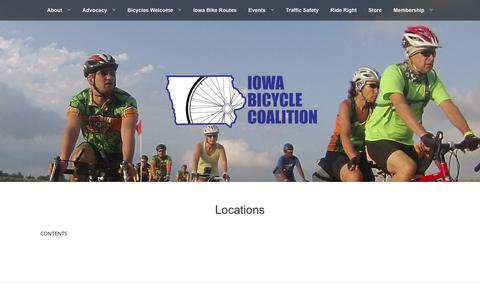 Screenshot of Locations Page iowabicyclecoalition.org - Locations | Iowa Bicycle Coalition - captured June 8, 2017