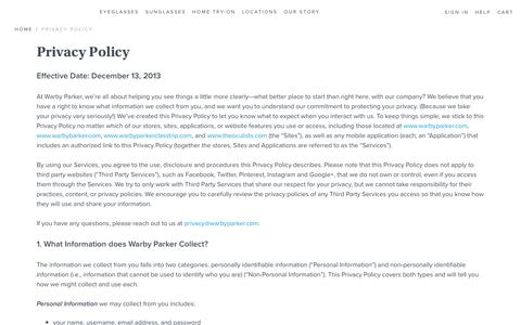 Screenshot of Privacy Page warbyparker.com - Privacy Policy | Warby Parker - captured Oct. 21, 2016