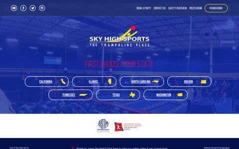 Screenshot of Locations Page skyhighsports.com - Locations - Sky High Sports Corporate - captured Jan. 15, 2016