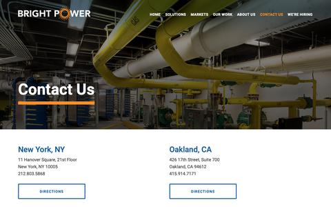 Screenshot of Contact Page brightpower.com - Contact Bright Power - Your Energy & Water Experts - captured Feb. 6, 2019