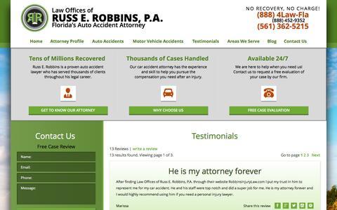 Screenshot of Testimonials Page robbinsinjurylaw.com - Florida's Car Accident Attorney | Testimonials - captured Jan. 27, 2016