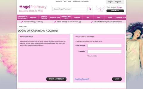 Screenshot of Login Page angelpharmacy.co.uk - Customer Login - captured Sept. 30, 2014