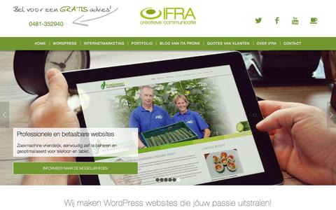 Screenshot of Home Page ifra.nl - IFRA uit Elst; WordPress websites over jóuw passie! - captured Feb. 3, 2016