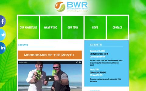 Screenshot of Press Page bwrgroup.com - BWR News | BWR - Brands Within Reach, Drink healthy, live happy - captured Oct. 5, 2014