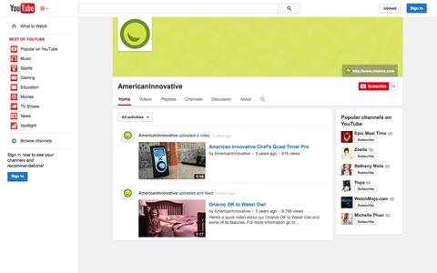Screenshot of YouTube Page youtube.com - AmericanInnovative  - YouTube - captured Oct. 23, 2014