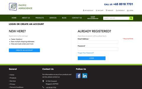 Screenshot of Login Page pacificagriscience.com - Customer Login - captured July 11, 2017