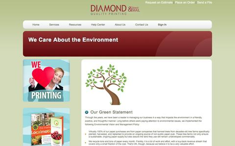 Screenshot of About Page diamondqualityprinting.com - Diamond Quality Printing & Direct Mail: We Care About the Environment - captured Jan. 25, 2017