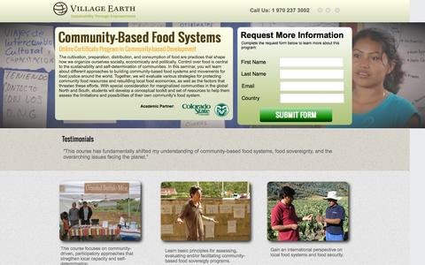 Screenshot of Landing Page villageearth.org - Online Community Food Systems Course | Village Earth - captured April 16, 2016