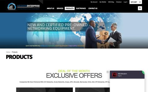 Screenshot of Products Page modernenterprise.com - Modern Enterprise Solutions | New & Pre-Owned Networking Equipment - captured May 5, 2017