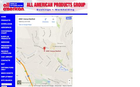 Screenshot of Maps & Directions Page allamericanproducts.com - Drill Bushings, Workholding Solutions, Tooling Componants, Toggle Clamps - All American Products Group - captured Sept. 30, 2014