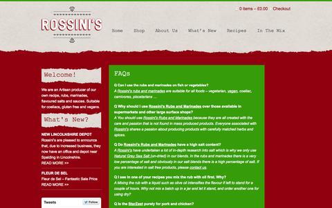 Screenshot of FAQ Page rossinisrubs.co.uk - FAQs - Rossinis Rubs & Marinades - captured Oct. 7, 2014
