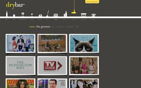Screenshot of Press Page thedrybar.com - What is the Latest Press About Drybar, The Nation's Premier Blow Dry Bar - captured July 19, 2014