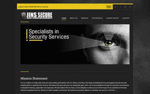 Screenshot of Home Page jinsecure.com - Jins Secure | Security Services Providers. - captured Oct. 3, 2014