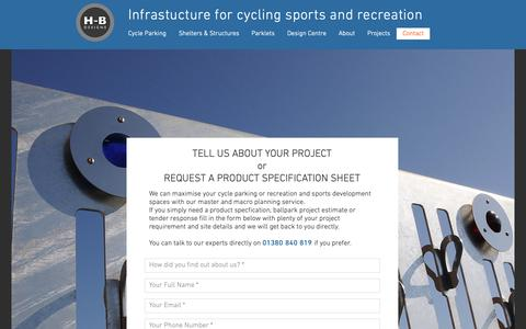 Screenshot of Contact Page hbdesigns.co.uk - Contact us | H-B Designs Cycle & Sports Infrastructure - captured Nov. 9, 2018